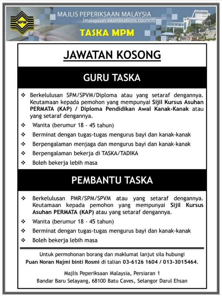 Jawatan Kosong Kerajaan 2017 Di Taska Majlis Peperiksaan Malaysia Selayang September 2017 Appjawatan Malaysia
