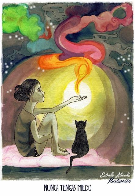 miedo, sueños, color, ilustración, illustration, gato, cat