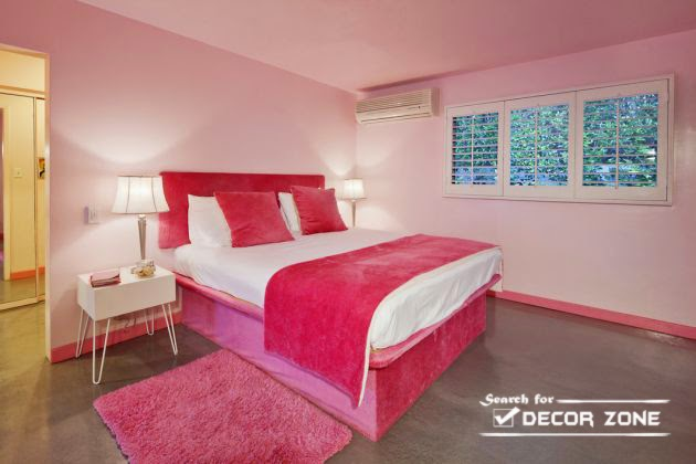 Women's bedroom decorating ideas in pink color