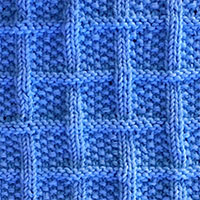 Lattice With Seed Stitch. Ribbed columns criss-cross around seed stitch squares. @knitpurlstitches