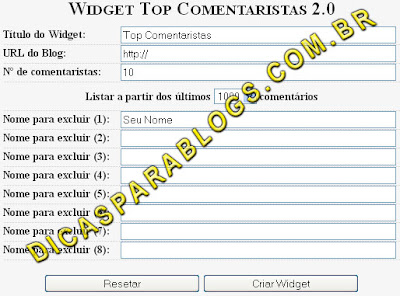 widget para mostrar os top comentaristas do blog