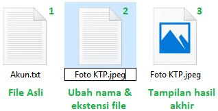 Mengubah nama dokumen dan jenis filenya agar tersamarkan