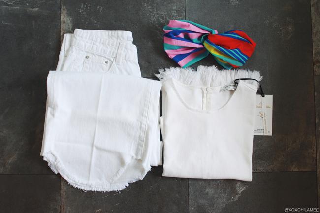 日本人ファッションブロガー,MizuhoK,3月に買ったもの,ZARA-ホワイトデニムキュロットパンツ、ホワイトデニムトップスTシャツ、マルチカラーストライプヘアーバンド