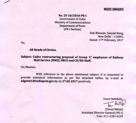 Cadre Restructuring Proposal Of Group C Employees Of Rms Sbco And
