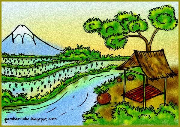 contoh mewarnai pemandangan gunung dan sawah