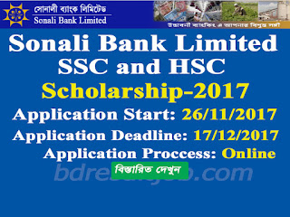 Sonali Bank Limited (SBL) SSC and HSC Scholarship Circular 2017
