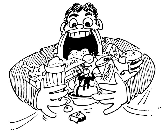 Caricature of a man with a large mouth trying to eat so many junk food
