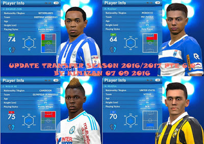 Option File PES 2016 untuk PTE 6.0 Only + No Tattoo update 7-09-2016