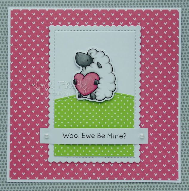 Humorous sheep Valentine's Day card (image and papers from My Favourite Things)