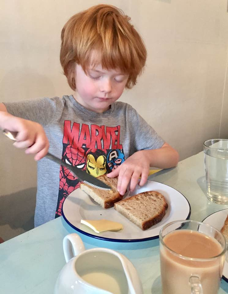 The Cook House Ouseburn | Breakfast with Kids - Jack eating toast