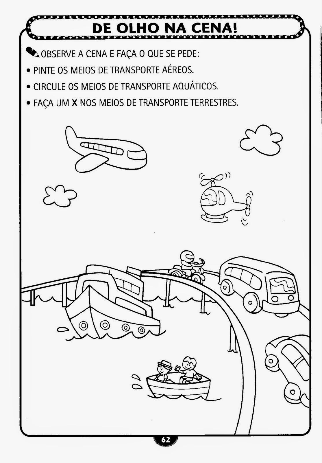 imagens animais para transportes para colorir