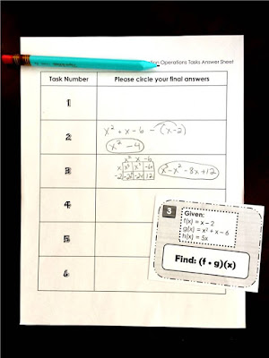 Function Operations task cards for Algebra 2
