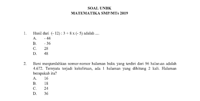 Soal UNBK Matematika SMP 2019