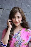 Angela Krislinzki Rogue Movie Fame Telugu Actress in Saree Backless Choli 123.JPG