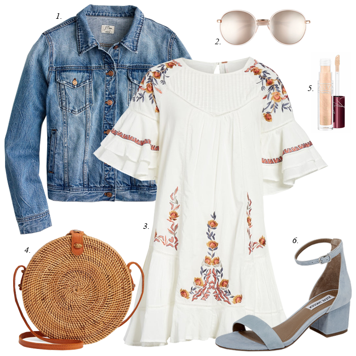 babydoll embroidered floral free people dress, suede blue sandals, circular straw bag