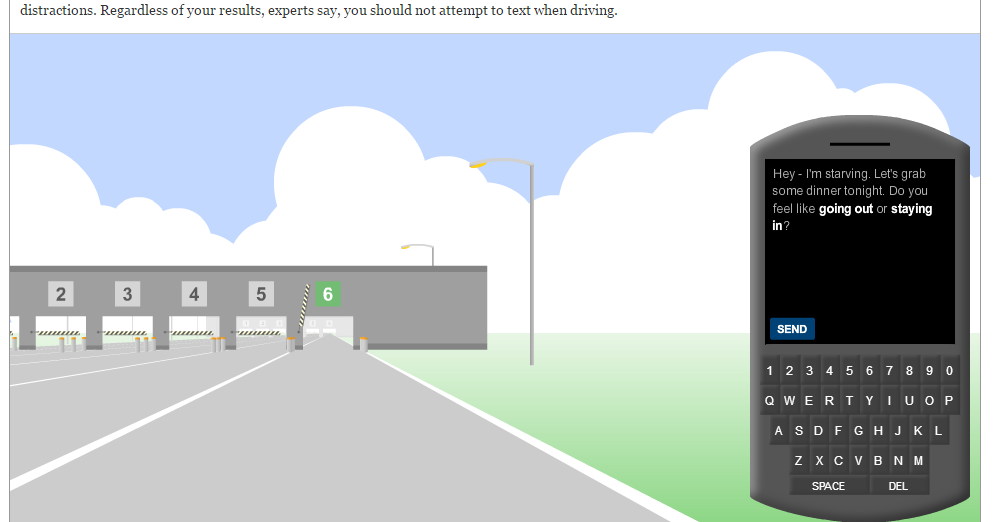Gauging Your Distraction - A Game to Show Students the Dangers of Texting While Driving
