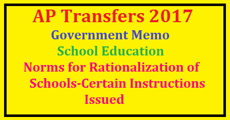 Govt Memo. -School Education -Norms for Rationalization of Schools-Certain Instructions Issued Govt Memo. -school eucation -norms for Rationalization of schools , posts ad staff under various managements , govt,zp, mandal parishad schools -certain instructions issued/2017/06/govt-memo-school-education-norms-for-RATIONALIZATION-OF-Schools-certail-instructions-issued.html