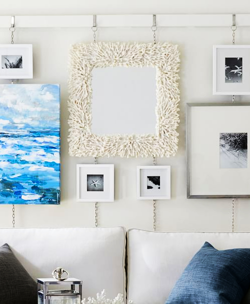 White Coral Resin Frame Wall Mirror