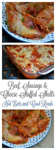 Tried and true family favorite! Delicious served with salad, garlic bread and tiramisu! Italian Ground Beef, Sausage and Cheese Stuffed Shells Recipe from Hot Eats and Cool Reads!