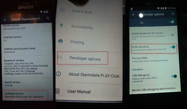 Starmobile PLAY Click USB Debugging Developers Option
