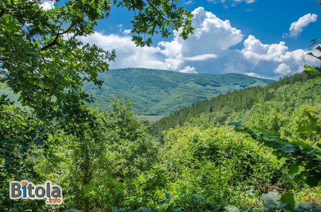 View toward surrounding mountains - Monastery St. Peter and Paul Crnovec village, Bitola municipality, Macedonia