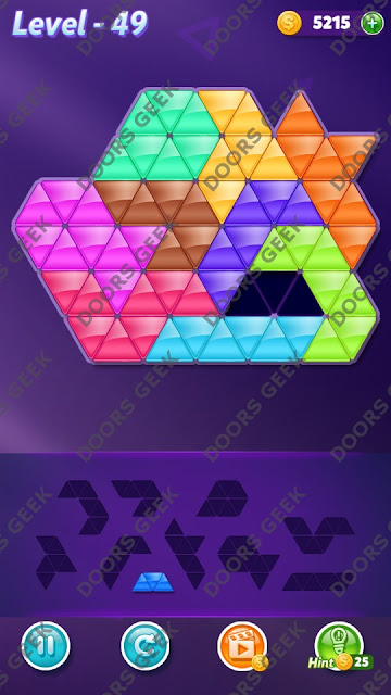 Block! Triangle Puzzle 10 Mania Level 49 Solution, Cheats, Walkthrough for Android, iPhone, iPad and iPod