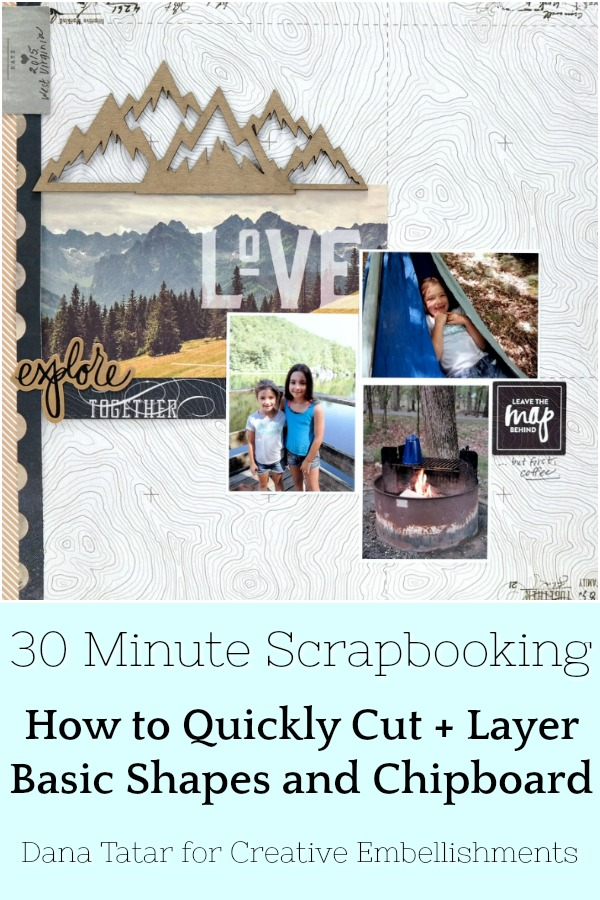 30 Minute Explore Together Camping Scrapbook Layout with Chipboard Mountains