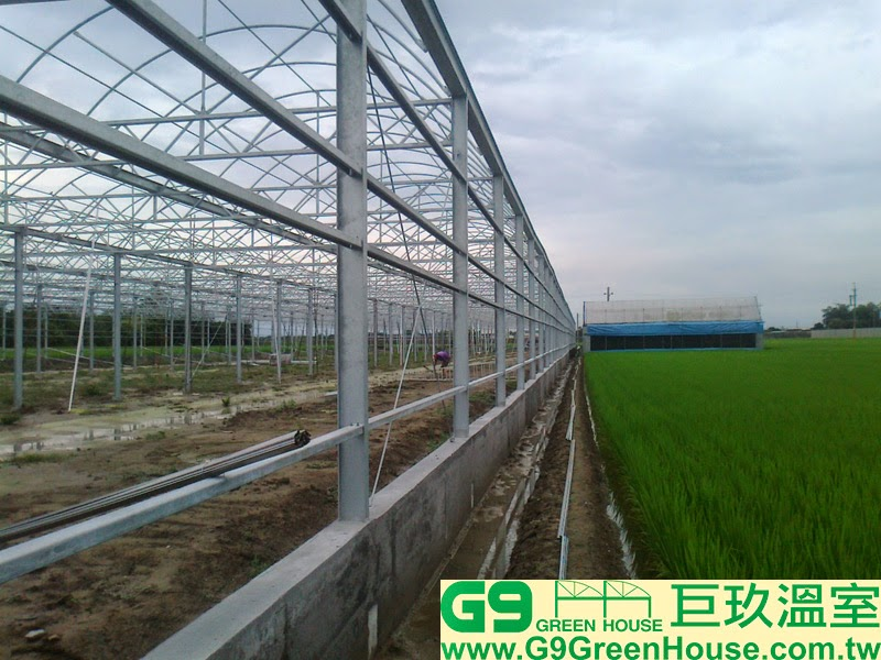 11.圓鋸鋼骨加強型溫室結構,擋土牆完成施工外觀