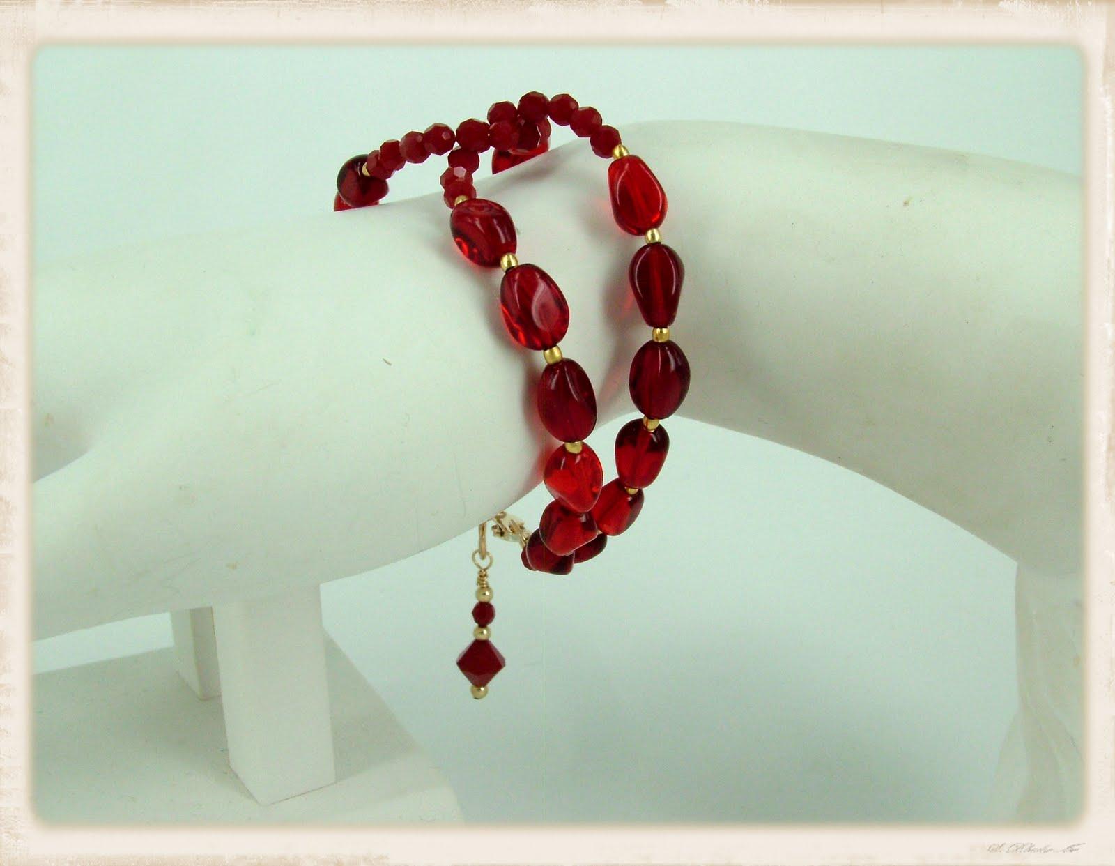 Melissa Ingram Beadwork: Entwined Ruby Red Bracelet