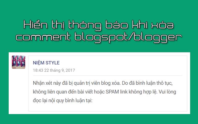 Thủ thuật hiển thị thông báo khi xóa comment blogspot