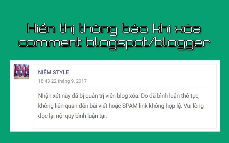 Hiển thị thông báo khi xóa Comment blogspot/blogger