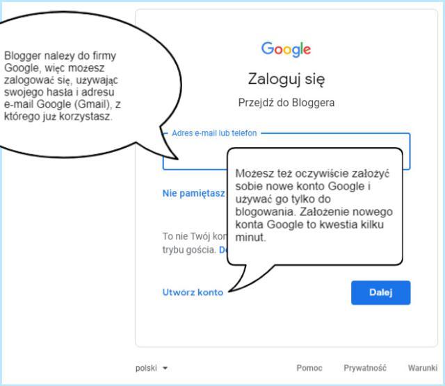 Tworzenie nowego konta Google.