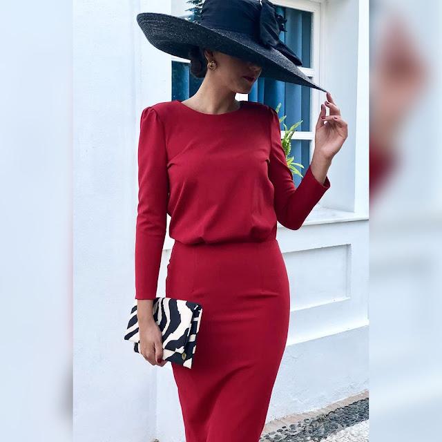 Μακρυμάνικο κόκκινο φόρεμα GENOVEVA