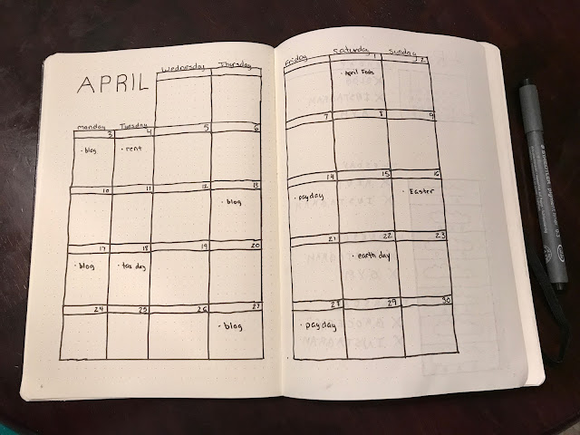 Bullet Journal Monthly Layout