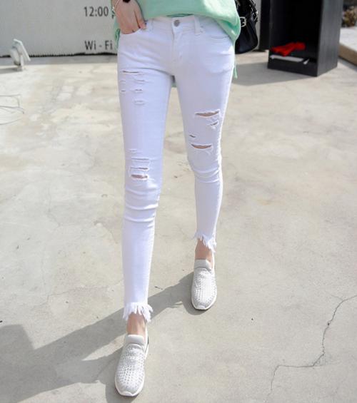 Ripped Frayed Hem Skinny Pants