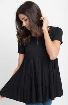 Buy now black Short Sleeve Ruffled Tiered Tunic Online $10 -@caralase.com