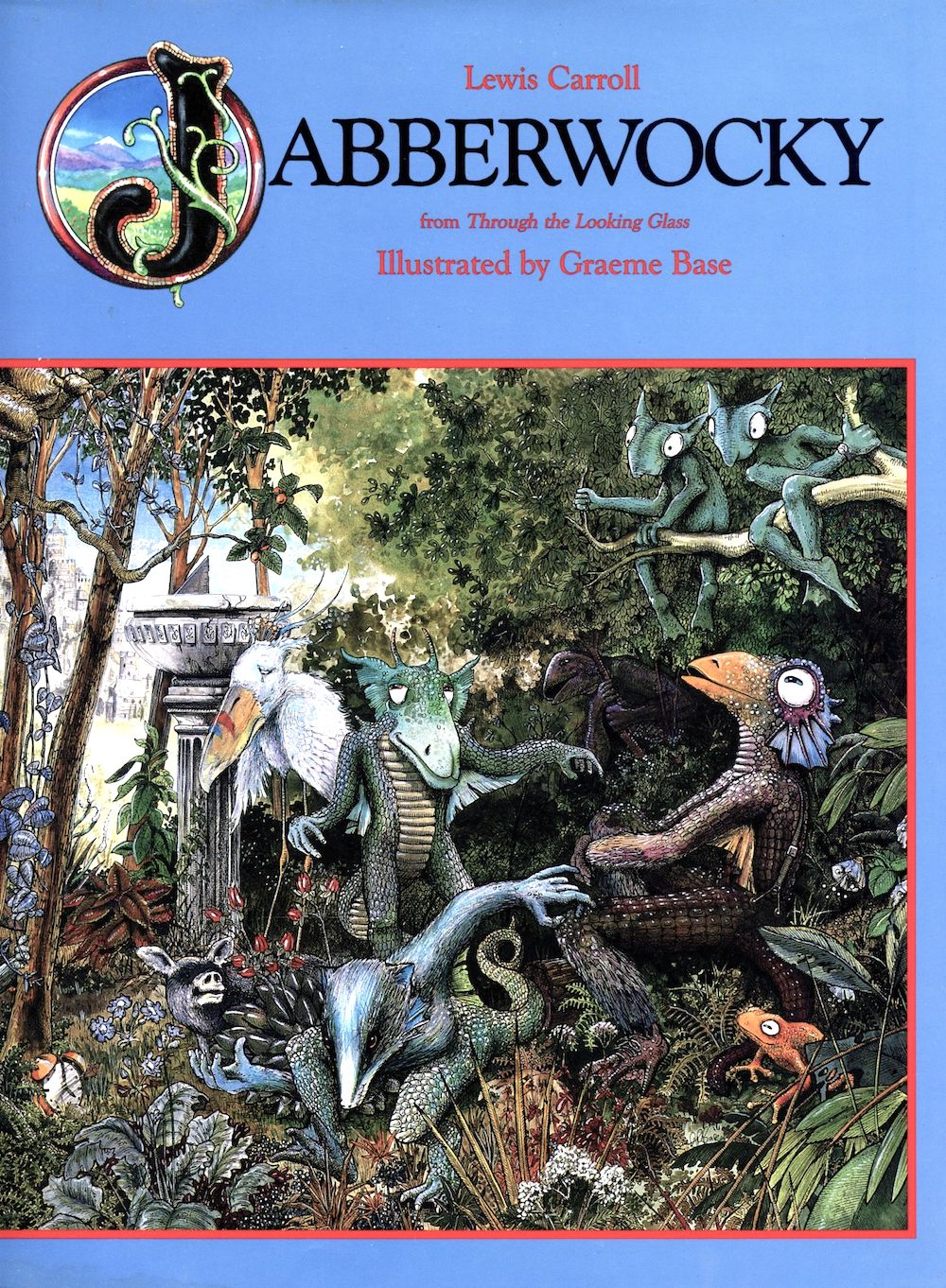 Cover to 1989 hardcover edition of 'Jabberwocky' illustrated by Graeme Base with a tableau of various creatures lolling around contendedly