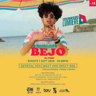 POSTER Concierto de BEJO en Bogotá 2018