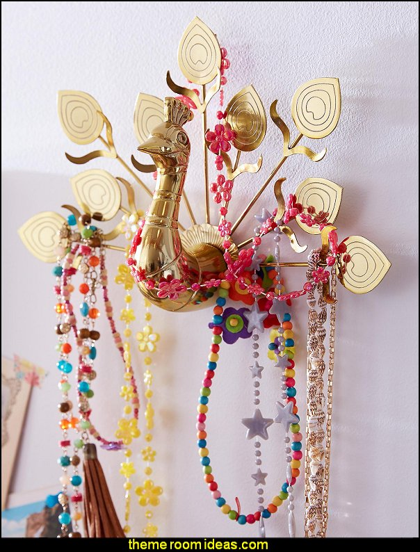 Peacock Jewelry Hanger    Peacock theme decorating - peacock theme decor - exotic style decorating - Peacock Decorations - Peacock Nursery
