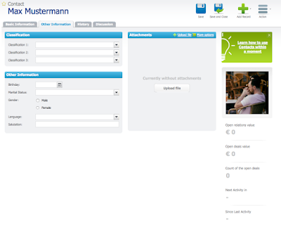 "Screenshot Ansicht Reiter ""Other Information"" bei RAYNET Cloud CRM"