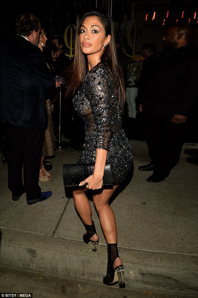 Nicole Scherzinger bares sideboob in embellished mini dress at Grammys After Party