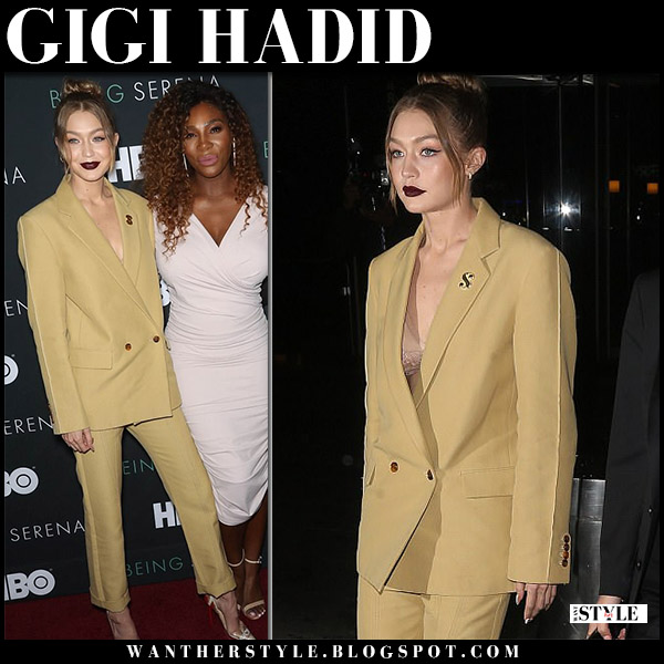 Gigi Hadid in mustard blazer and matching pants derek lam model style april 25