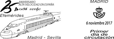 Filatelia - Efemérides. 25 Aniversario AVE Madrid-Sevilla - Matasellos - Primer día de circulación (2017)