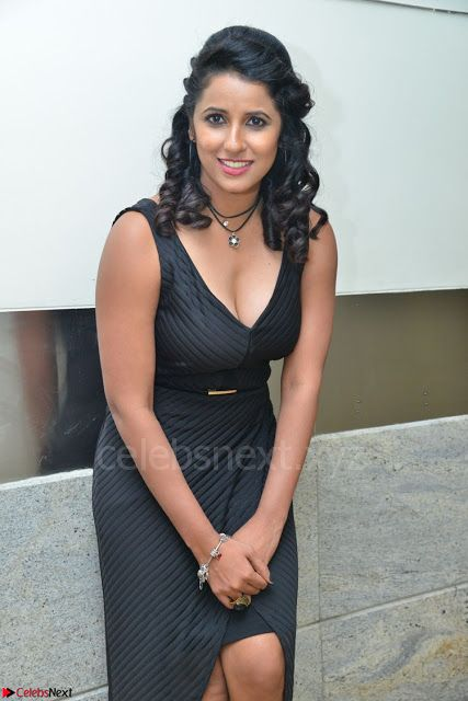 Shraavya Reddy in a Sleeveless Black Deep Neck Gown Spicy Pics 002.jpg