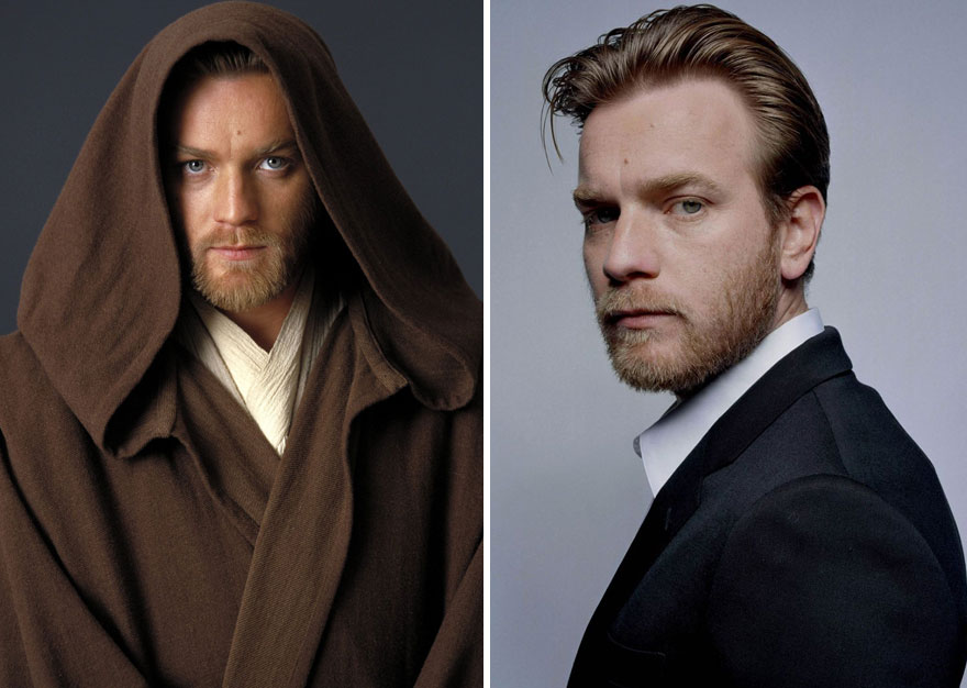 Ewan Mcgregor As Young Obi-Wan Kenobi, 2005 and 2015
