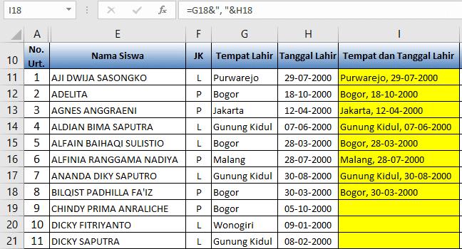 Cara Menggunakan Rumus Fungsi Excel untuk menggabungkan teks isi sel