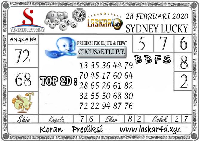 Prediksi Sydney Lucky Today LASKAR4D 28 FEBRUARI 2020