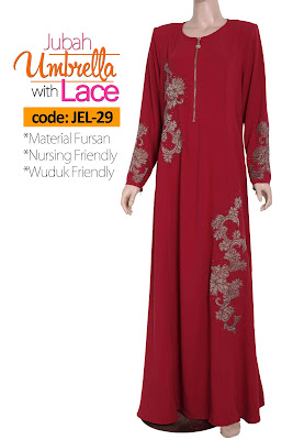 Jubah Umbrella Lace JEL-29 Red Depan 4