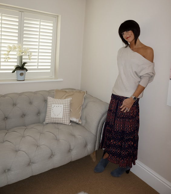 My Midlife Fashion, zara cashmere off the shoulder jumper, great plains tarim ladder lace maxi skirt, hush thornton ankle boots