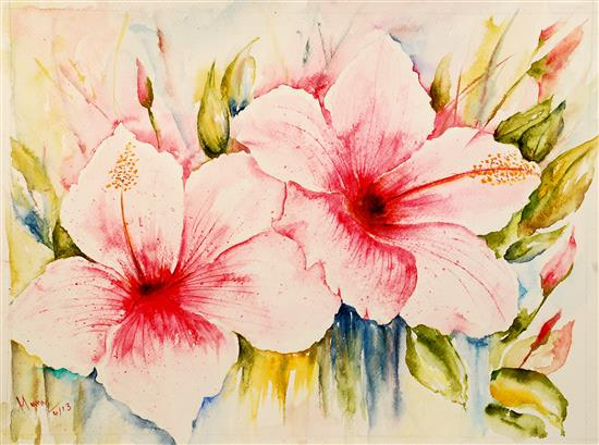 Star Gazer Hibiscus by Manju Srivatsa (part of her portfolio on www.indiaart.com)